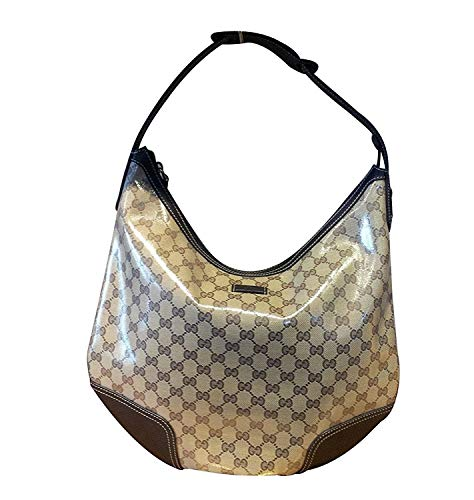 (Gucci Brown Crystal Canvas Large Princy Hobo Handbag)