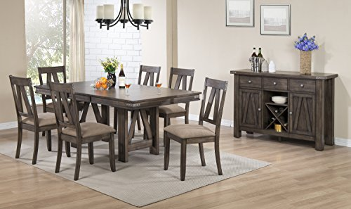 Kings Brand - Lynn 8 Piece Brown Wood Rectangle Dinette Dining Room Table, 6 Side Chairs & Server Set