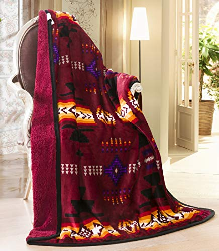 (Southwest Design (Navajo Print) Sherpa Lined Throw 16112 Burgundy)