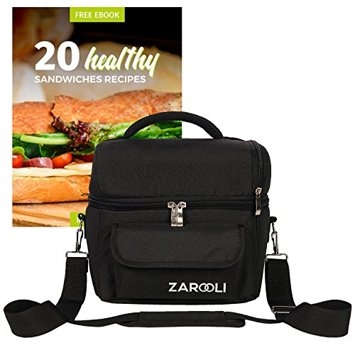 Lunch Cooler Bag For Women and Men By Zarooli: Black Double Deck Tote Bag With Front Pocket – Thermal Picnic Bag With Double Insulation - Comes With A Healthy Sandwich eBook