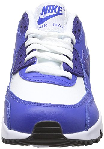Nike Unisex-Kinder Air Max 90 Leather (GS) Shoe Low-Top Weiß (105 WHITE/DEEP ROYAL BLUE-GAME ROYAL-BLACK)