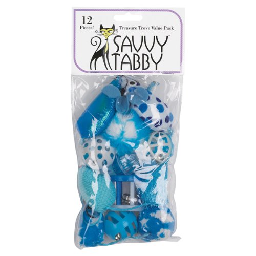 Savvy Tabby 12-Pack Treasure Trove Value Pack Cat Toy, Blue, My Pet Supplies
