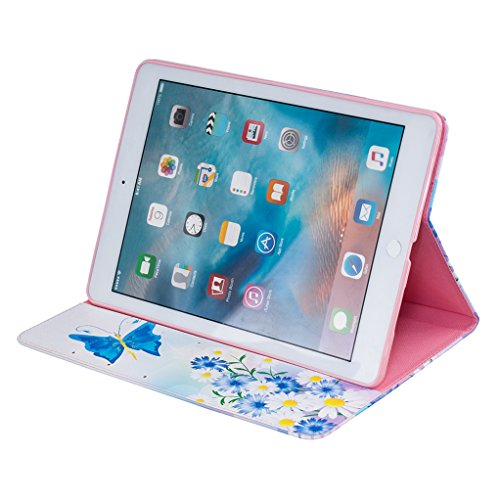 Trumpshop Smartphone Carcasa Funda Protección para Apple iPad Pro (9.7-Pulgadas) + Mariposas Doradas + PU Cuero Caja Protector Billetera Choque Absorción Mariposa azul