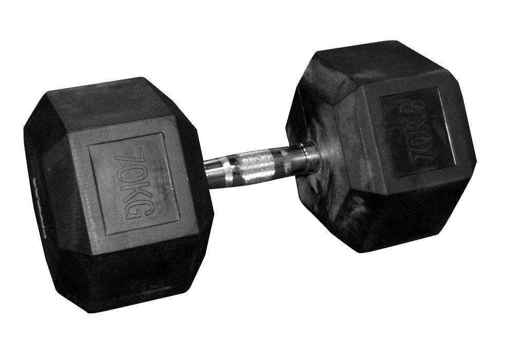 De goma mancuernas hexagonales (par) - 70 kg: Amazon.es: Deportes y aire libre