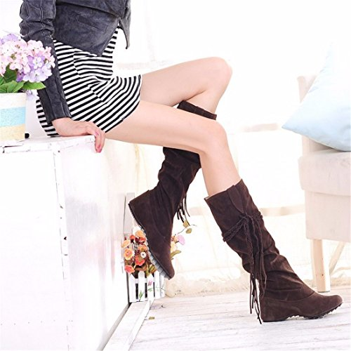 of Brown The fringed students scrub increase winter high size boots in boots SFnpPFR