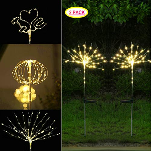 Firework Lights, 2 Pack Copper Wire LED Starry Fairy String Lights Solar Garden Stake Lights Outdoor Christmas Light for Landscape Pathway Patio Wedding Party Corridor IP67 Waterproof (Warm White)]()