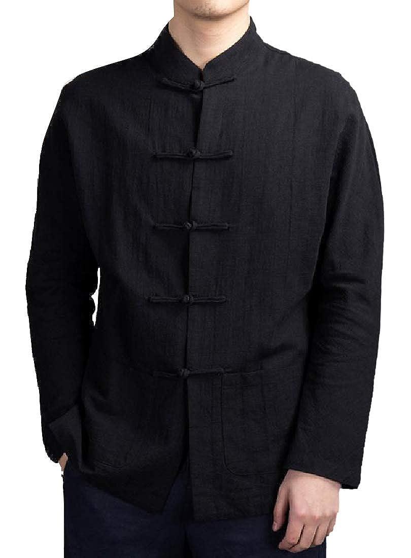 Fseason-Men Slim Casual Linen Blend Martial Arts Adult Long Shirt