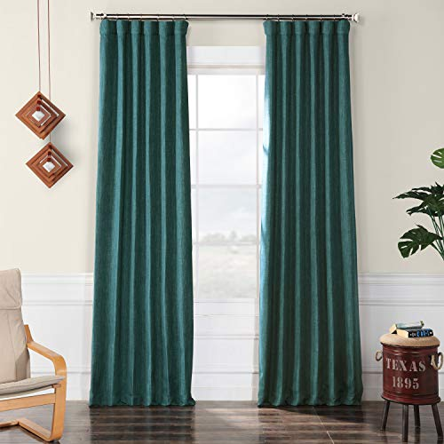 - HPD HALF PRICE DRAPES BOCH-LN18523-96 Faux Linen Blackout Room Darkening Curtain 50 X 96,Slate Teal