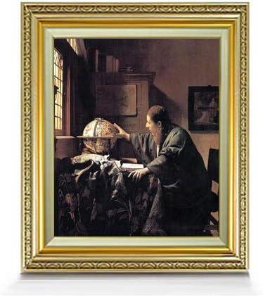 フェルメール 天文学者 F8 油絵直筆仕上げ| 絵画 8号 複製画 ゴールド額縁 598×524mm