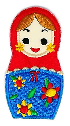 Russian Costumes Designer (1.25 inches x 2.5 inches Russian Matryoshka Babushka Nesting Doll kid Sew Iron on Embroidered Applique Craft Handmade Baby Kid Girl Women Cloths DIY Costume Accessories)