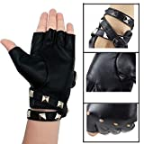 Womens Punk Rock Fingerless Gloves PU Leather