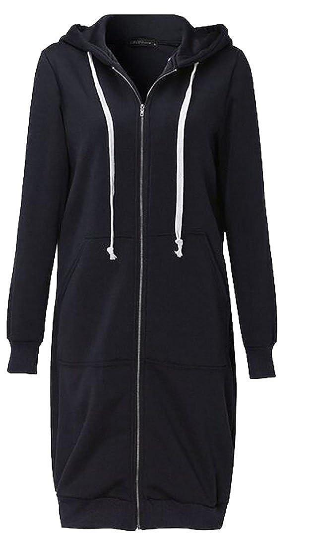 Frieed Womens Casual Zipper Hoodies Drawstring Loose-Fit Sweatshirt Jacket Coat