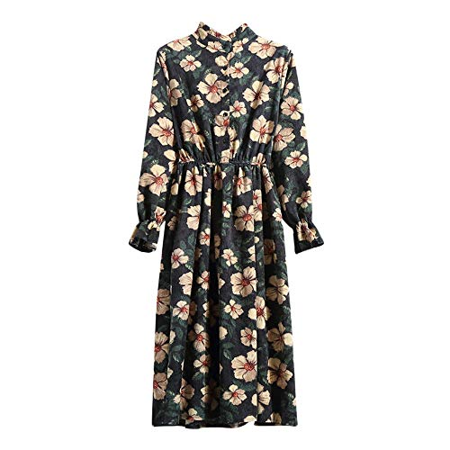 DEATU Hot Sale! Women Dress Ladies Casual Elegance Elastic Waist Butterfly Sleeve Stand Neck Printed Floral Dress Corduroy Dress(Black ,L) -