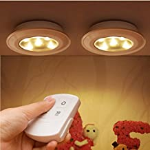 2 Pcs Dimmable LED Light Wall Light Kitchen Cabinet Closet Lighting Sticker Tap Touch Lamp Lamps, Great for Cars Cabinets Wardrobes Bars Sideboard + Remote Controller