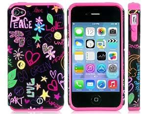 Con dibujos de TPU de goma y silicona protectora para el iPhone 4/4S