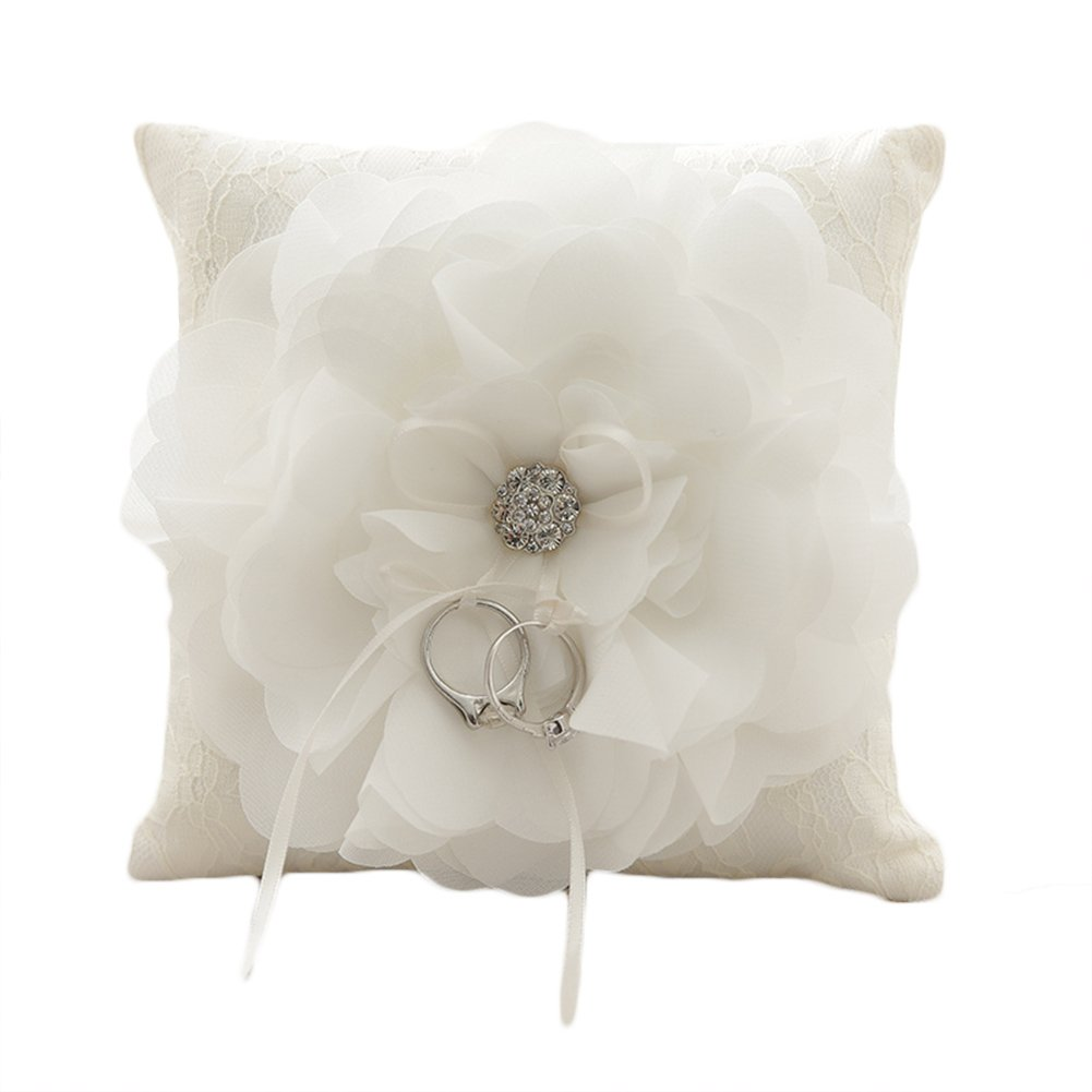 Lace Pearl Embroided Satin Flower Wedding Ring Bearer Pillow 7.8 Inch x 7.8 Inch (White Daisy)