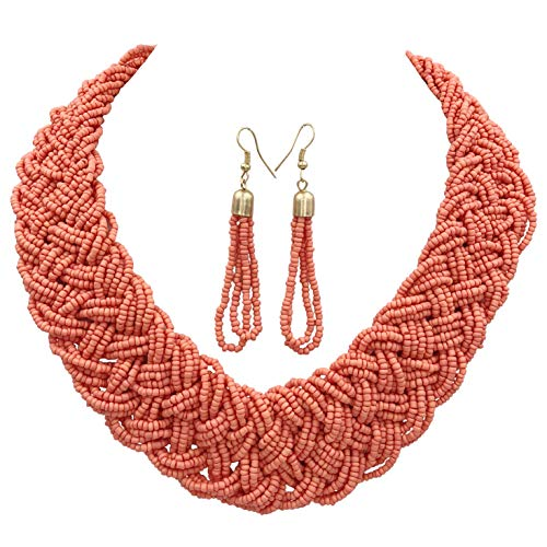 Gypsy Jewels Wide Braided Seed Bead Multi Strand Statement Necklace & Earrings Set (Coral Peach)