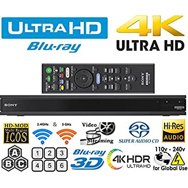 Sony UHP-H1 2K/4K UHD 2D/3D Wi-Fi 2.4/5.0 Ghz Clear Audio Multi System All Region Blu Ray Disc DVD Player