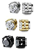 LOYALLOOK Stainless Steel Magnetic Stud Earrings for Men Women Unisex Cubic Zirconia Inlaid 5-10MM (M:3pair 10MM (white+black+gold))