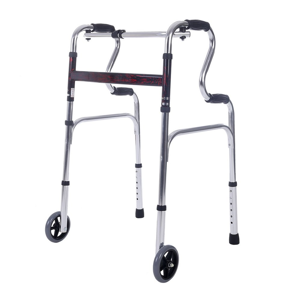 SUKONG Compact Folding Walker, Rising Aid 2 in 1 with Trigger Release and 5 inches Wheels Portable Lightweight Supports up to 255 lbs by SUKONG