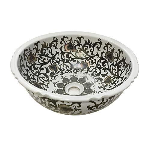 - Dawn GVB87388 Ceramic, Hand Engraved and Hand-Painted Vessel Sink-Round Shape