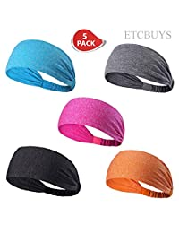 ETCBUYS Sports Fitness Headband - Athletic Women's Headband and Work-Out Head Wrap Sweatband For Yoga, Fashion, Basketball, Running, Girls