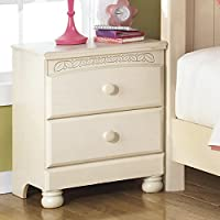 Florence 2 Drawers Bedrrom Night Stand Made of Engineered Wood in Light Cream Finish 25.28 H x 20.87 W x 15.63 D in.
