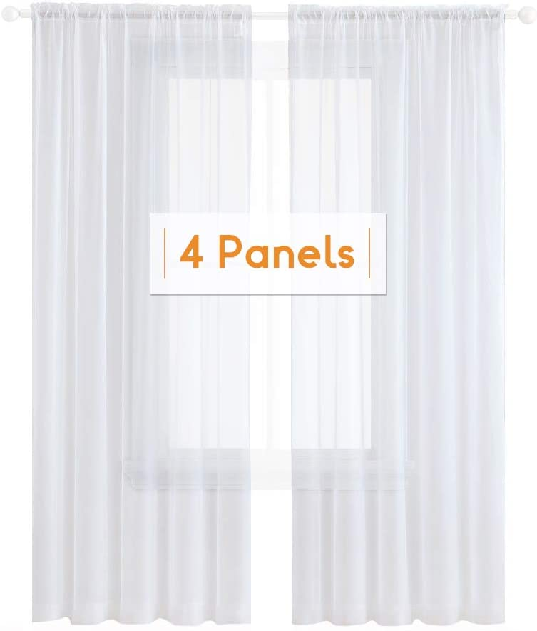 Anjee 4 Panels White Sheer Curtains 63 Inches Long Rod Pocket Window Treatment Linen Gauze Voile Drapes for Kids Room Bedroom Living Room Kitchen, 52 x 63 Inch