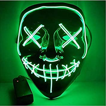 CompraFun Máscara LED Halloween, Máscara Disfraz Luminosa Craneo ...
