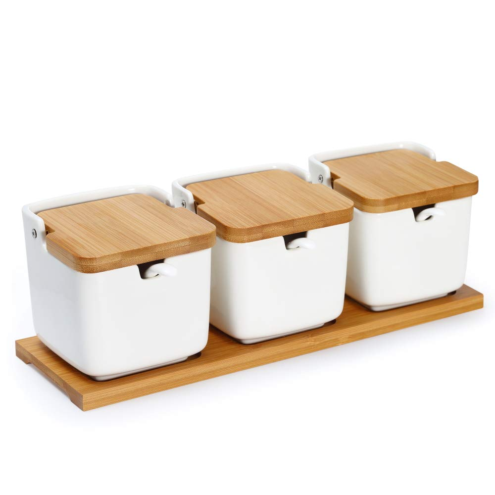 Set of 3 Ceramic Condiment Pots Jars Sugar Bowls Salt Boxes with Spoons Bamboo Flip Lids Labels & Wooden Tray, LUCKY GODDNESS Large Seasoning Containers Spice Jars White Modern Housewarming Gift 9.1oz