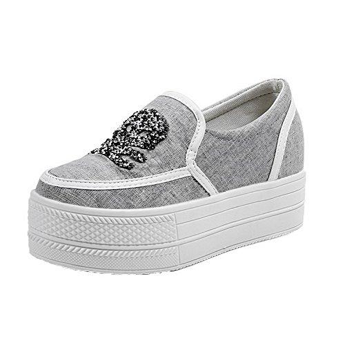 AgooLar Damen Rund Zehe Gewebe Mittler Absatz Ziehen auf Rein Pumps Schuhe Grau