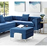 Inspired Home Navy Velvet Ottoman – Design: Giovanni | Storage | Chrome Legs | Square | Modern and Contemporary For Sale