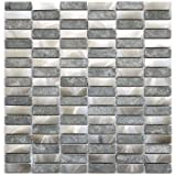 Stainless Steel Bricks And Gray Basalt Stone Mosaic Metal Tile- Kitchen Backsplash / Bathroom Wall / Home Decor / Fireplace Surround