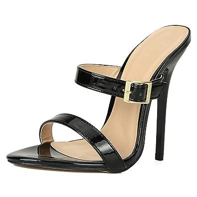 8e82a40a3a1 MAIERNISI JESSI Unisex Men s Women s Two Straps Stiletto High Heel Open  Back Sandals Black EU37 -
