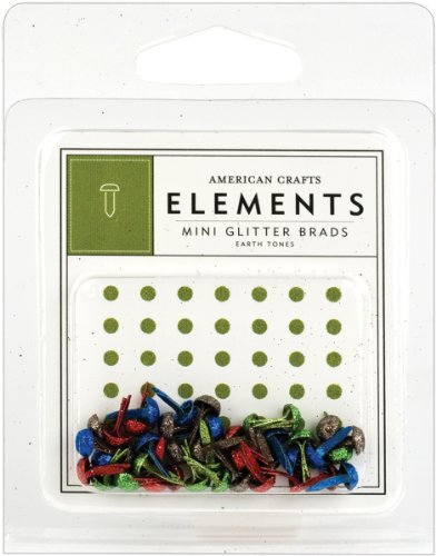 American Crafts Mini Eyelets - American Crafts Elements Mini Glitter Brads, Earth Tones