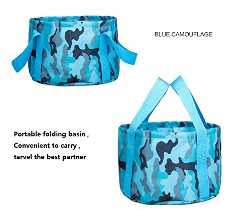 Premium 21L Collapsible Bucket by Compact Portable Folding Water Container - Lightweight & Durable - Includes Handy Storage Pocket for Camping, Hiking, Travel, Outdoors Organizer (Blue Camouflage)