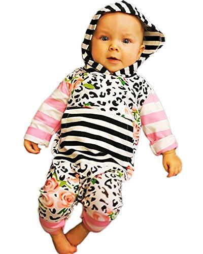 Infant Toddler Newborn Floral Striped Hooded Romper Long Sleeves Onesie Jumpsuit (0-6 Months, Pink) (Pink Leopard Infant Costume)