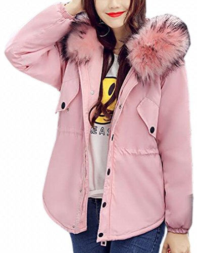 Coat Jacket Women's Fur Padded Faux Hooded Parka Down Outerwear UK Winter today Pink 4g0qHWvv