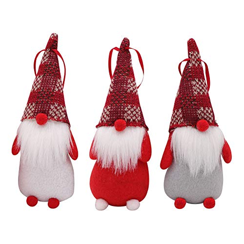AerWo 3Pcs Handmade Swedish Tomte, Santa - Scandinavian Gnome Plush Figurines Holiday Ornaments - Red, White, Grey