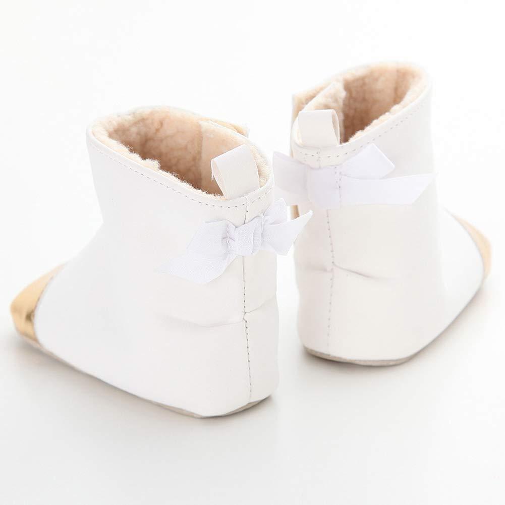 White 11cm Alamana Fashion Faux Leather Infant Baby Soft Sole Warm Boots Prewalker Toddler Shoes