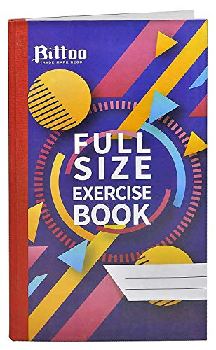 Bittoo Full Size Exercise Book - 200mm x 325mm, Hard Cover, 192 Pages, Single Line - Pack of 5
