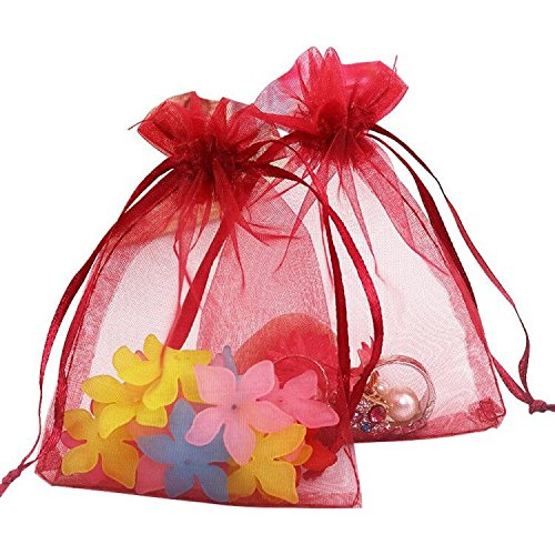 Organza Gift Red Bags (Organza Gift Bags with Drawstring 5'' x 7'', G2PLUS 100 PCS Organza Jewelry Bags, Sheer Drawstring Gift Pouches for Christmas Wedding Party Favors (Wine Red))