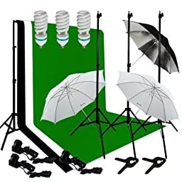 Caltar Photography Photo Video Continuous Lighting Kit, 10ft Background Support, with Black and White 10 X 10 Muslin Backdrops,