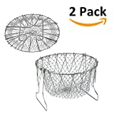 ANPI 2 Pack Foldable Stainless-Steel Fry Chef Basket, Steam Rinse Strainer Net Kitchen Frying Basket Gadgets Cooking Tool