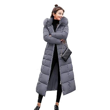 swiftt Damen Winterjacke Wintermantel Daunenjacke Lang Parka Jacke Mantel mit Fellkapuze Winter Warm