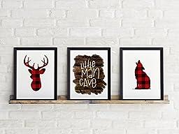 Three Piece Handlettered Nursery Graphic Design Prints 8.5 x11 Artwork Red Flannel \