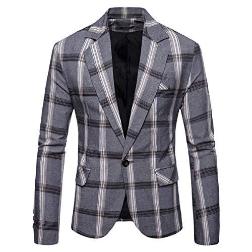 Men's Casual Pinstripe Sport Coat Notch Lapel Classic Fit Printed Blazer Light Gray ()