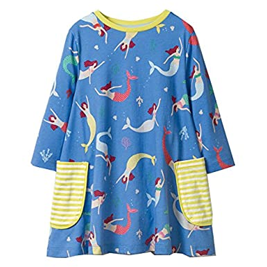 BEILEI CREATIONS Little Girls Cotton Casual Long Sleeve Cartoon Princess Dress