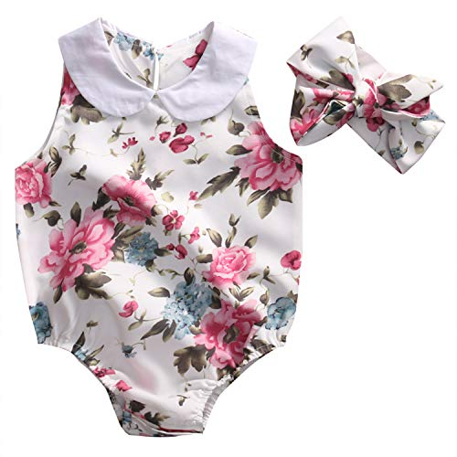 (Cute Newborn Baby Woman Romper Summer Floral Clothing Peter Pan Collar Sleeveless Child Kids Sunsuit Outfits 0-24M Princess or Queen Prince)