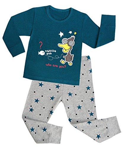 CharmLeaks Jungen Ente Schlafanzug Kinder Zweiteiliger Pyjama Langarm 4-5 Jahre